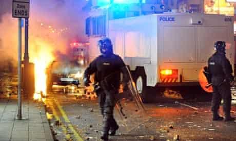 Riot police in Belfast city centre