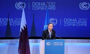 UN chief Ban Ki-moon at Doha climate talks
