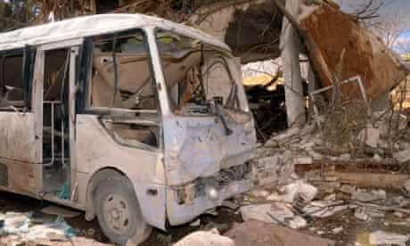 Damaged vehicle in Aleppo