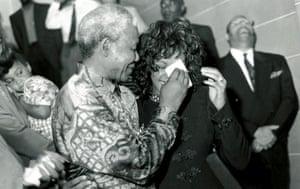 Whitney Houston with Nelson Mandela