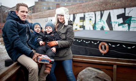Maiken Holmgaard and Mads Buddig and their sons Sylvester, six, and Meyer, two