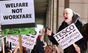 Protesters at Tesco branch in Westminster, London