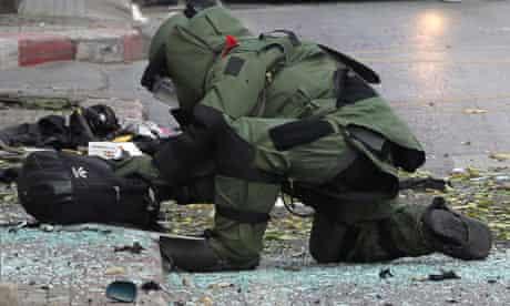 A Thai bomb disposal expert at work in Bangkok
