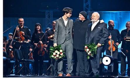 Jonny Greenwood, conductor Marek Mos and Krzysztof Penderecki