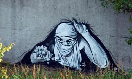 A mural by the Russian street artist known as P183