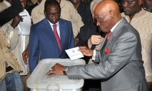 Senegal's president Abdoulaye Wade casts vote