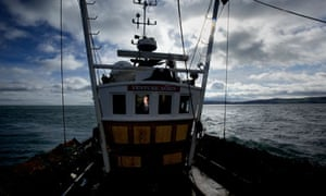 Michael Inglesfield takes his scallop boat out into the marine nature reserve in Ramsey bay