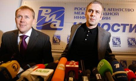 Dmitry Kovtun, right, with Andrei Lugovoi in 2007. Both deny murdering Alexander Litvinenko