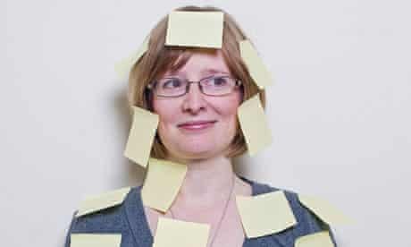 Lucy Mangan covered in Post-it Notes