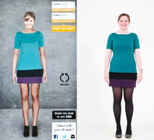 Spot the difference … Laura Barnett with her avatar wearing the same dress.