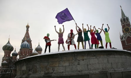 Pussy Riot performing on top of Lobnoye Mesto stone platform on Red Square in Moscow