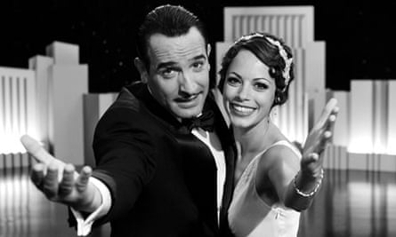 The Artist, starring Jean Dujardin and Berenice Bejo, above, has been nominated for 10 Oscars.