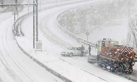 Snow-covered road in Burgos, Ukraine