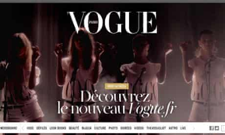 Screengrab of Vogue Paris' website on the day of its relaunch
