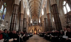People at a service in Westminster Abbey prior to the General Synod of the Church of England