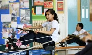 Virginia primary school pupils on rowing machines