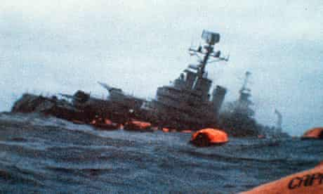 The Argentinian cruiser General Belgrano sinking after being torpedoed on 1 May 1982