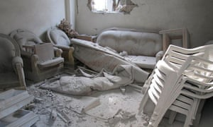 The interior of a house damaged by Syrian army shelling in Baba Amr in Homs