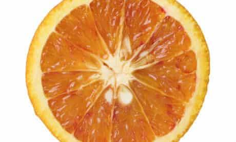 Close-up of half a blood orange