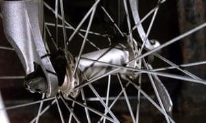Parts of a mountain bike. The wheel spokes.