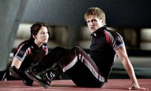 Katniss Everdeen (Jennifer Lawrence) and Peeta Mellark (Josh Hutcherson) in The Hunger Games.