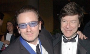 Jeffrey Sachs, right, with singer and human rights campaigner Bono