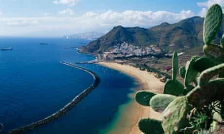 Aerial view of beach in Tenerife