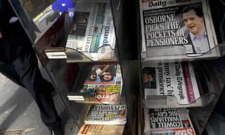 British newspaper headlines for budget 2012