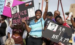 Protesters at Trayvon Martin rally