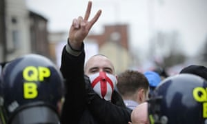 An English Defence League supporter gestures during a rally in Luton, Hertfordshire, in 2011