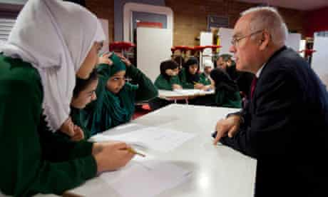 Sir Michael Wilshaw chats to pupils at Park View school, March 2012