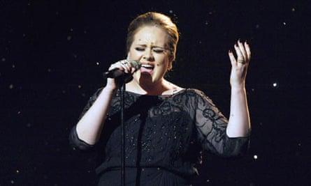 Adele singing at the BRIT Awards 2011