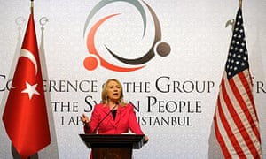 Hillary Clinton speaks at the conference of foreign ministers, in Istanbul.