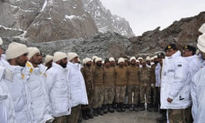 The Pakistani army visits the avalanche site in Siachen where 120 soldiers were killed.
