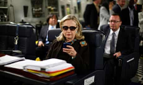 The picture of Hillary Clinton aboard a military plane that led to hundreds of internet spoofs.
