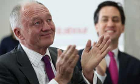 A teary Ken Livingstone watches the London mayoral broadcast with party leader Ed Miliband