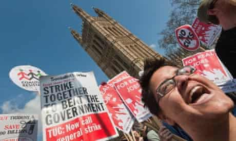 A UK Uncut protest at Westminster on budget day