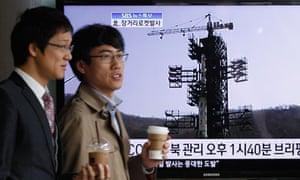 South Koreans in Seoul north Korea rocket