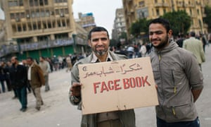 Anti-government protesters Facebook sign in Cairo, Egypt