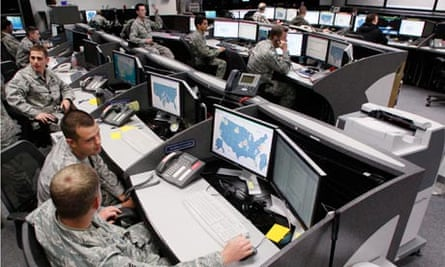 Personnel work at the Air Force Space Command Network Operations in Colorado Springs