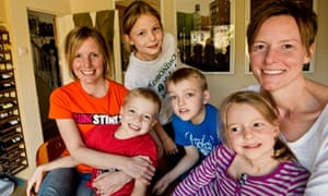 Abi and Emma Moore and their children