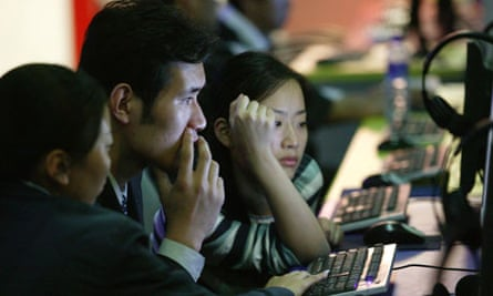 Young people in an internet cafe, in Shanghai, China
