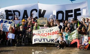 Protesters against fracking at Becconsall, Banks, Lancashire