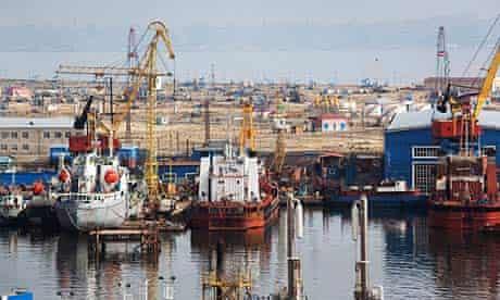 Oil and gas platforms off the coast of Baku, Azerbaijan.