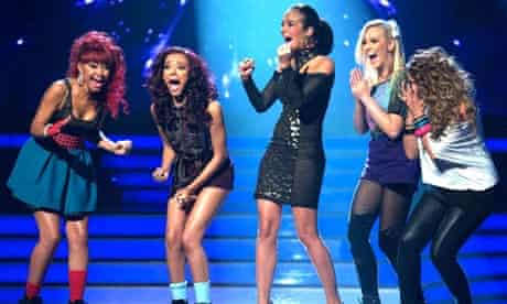 Tulisa with her X Factor winners Little Mix