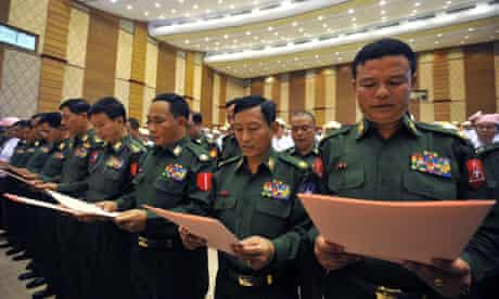 Burmese militarry representatives in parliament