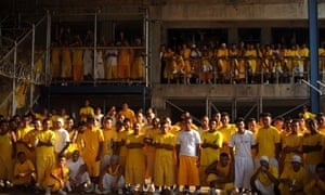 Mara 18 gang members attend mass at Izalco penitenciary, 70km west of San Salvador