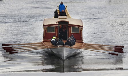 The royal barge Gloriana being tested on the Thames for the first time, April 2012