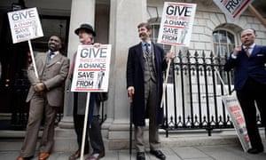 Dapper gents protest on Savile Row