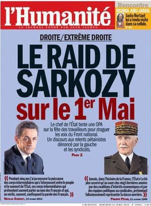 L'Humanité's cover juxtaposing Sarkozy and Pétain